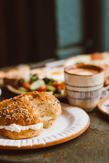 美味的面包咖啡图片