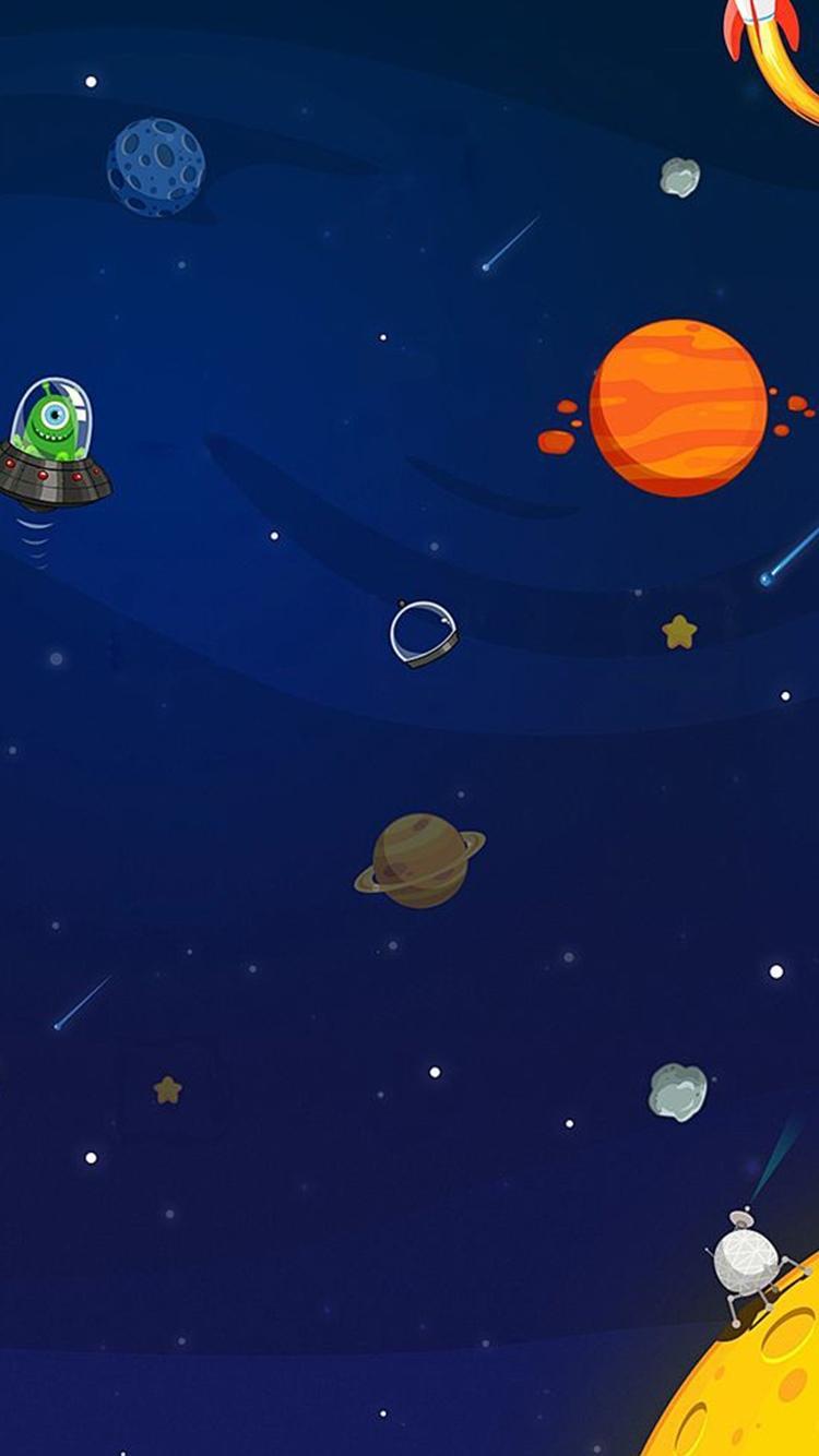 太空外星人行星卡通iphone 6壁纸 图片 Ios桌面